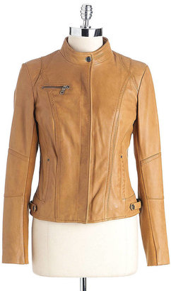 Andrew Marc New York Zip-Front Leather Jacket
