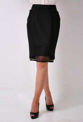 Sportmax Albany Black Pencil Petticoat Skirt