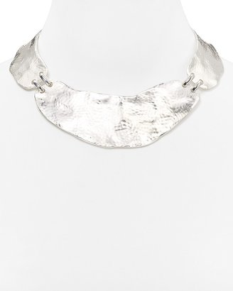 """Sequin Hammered Plates Necklace, 14"""""""