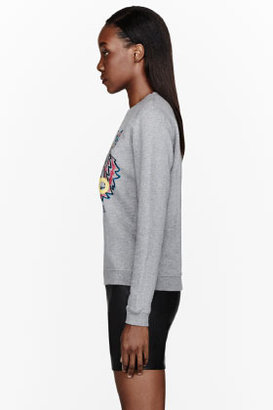 Kenzo Heather grey tiger-embroidered sweatshirt