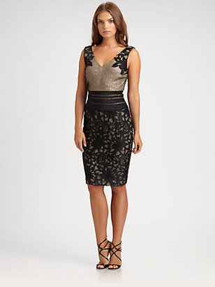 Kay Unger Sequin Underlay Dress