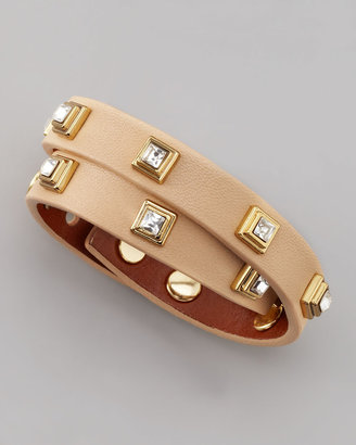 Tory Burch Crystal-Studded Leather Bracelet, Beige