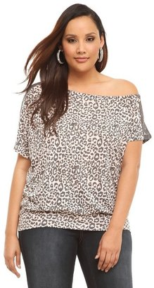 Twist Tees - Leopard With Charcoal Lace Off-The-Shoulder Top