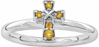 Silver Cross FINE JEWELRY Personally Stackable Genuine Citrine Sterling Ring