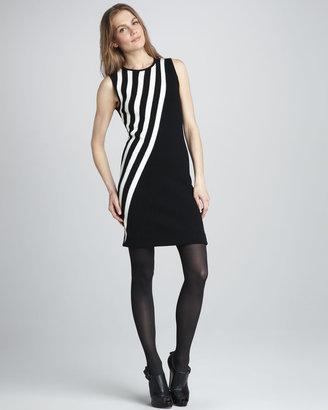 Milly Diagonal-Stripe Knit Dress