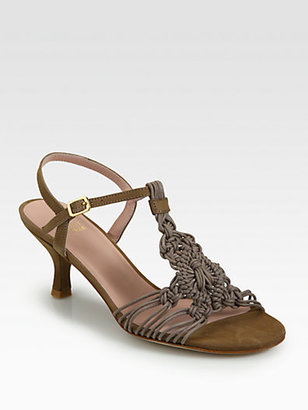 Stuart Weitzman Teacher Woven Leather Sandals