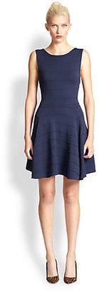Alice + Olivia Bolton Textured-Stripe Fit-&-Flare Dress