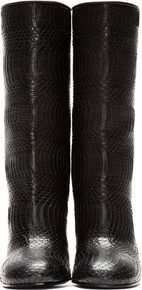 Givenchy Black Eel Snakeskin Luna Boots