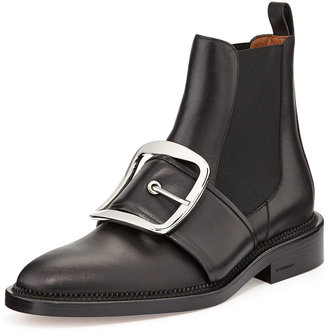 Givenchy Buckle-Strap Leather Ankle Boot, Black
