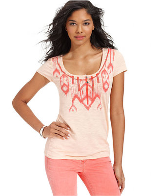 Calvin Klein Jeans Petite Top, Short-Sleeve Petite Henley
