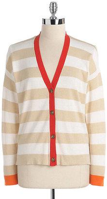 Vince Camuto Petites Striped Cardigan Sweater
