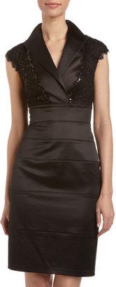 Tadashi Shoji Satin and Lace Cap-Sleeve Dress, Black