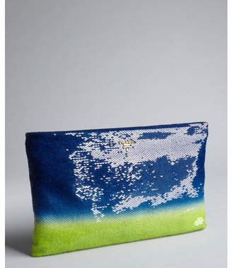 Prada blue and lime ombre sequined oversized zip clutch