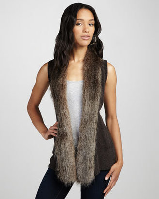 Ella Moss Sherwood Faux-Fur-Trim Vest