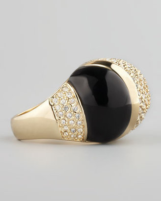 Rachel Zoe Domed Crystal Ring, Black