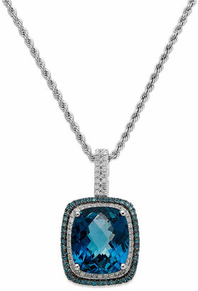 Macy's 14k White Gold London Blue Topaz (13-1/2 ct. t.w.) and Blue and White Diamond (1/2 ct. t.w.) Necklace