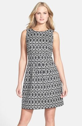 Donna Ricco Two-Tone Jacquard Dress