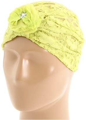 Betsey Johnson Lace Turban with Flower (Lime) - Accessories