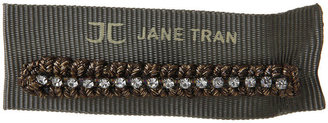 Jane Tran Braided Shimmery Bobby Pin with Crystal Row, Gold 1 ea