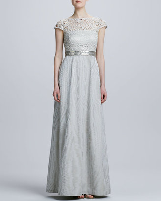 Kay Unger New York Cap-Sleeve Lace Bodice Gown