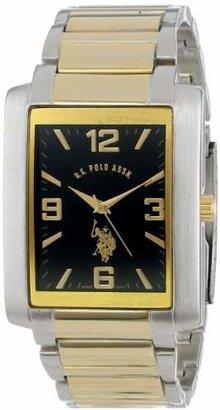 U.S. Polo Assn. Classic Men's USC80043 Two-Tone Rectangular Dial Link Watch