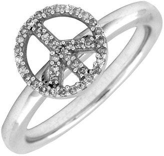 Simply Stacks Sterling Peace Symbol Diamond Ring