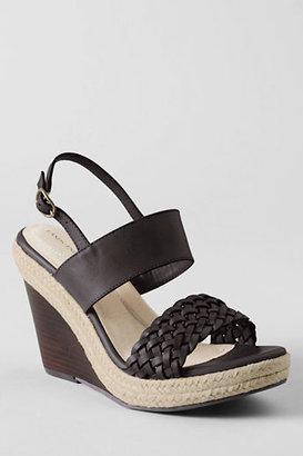 Lands' End Women's Peyton High Platform Braided Sandals