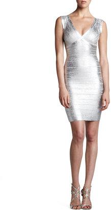 Herve Leger Combo V-Neck Bandage Dress, Silver