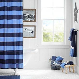 PBteen Rugby Stripe Shower Curtain, Navy/Blue