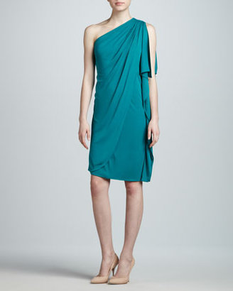 Badgley Mischka One-Shoulder Cocktail Dress, Jade