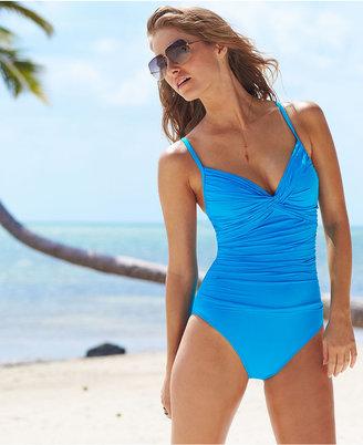 LaBlanca La Blanca Swimsuit, Twist-Front Ruched Push-Up One-Piece