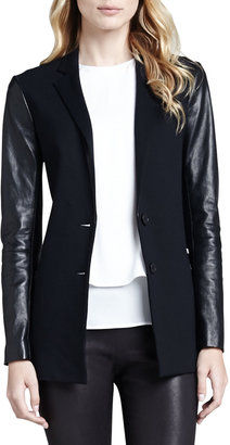 Theory Lavey Leather-Sleeve Blazer