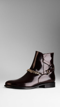 Burberry Bridle Chain Ankle Boots