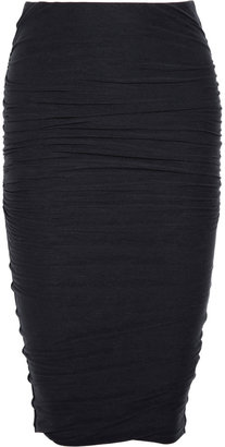 James Perse Ruched stretch cotton-blend jersey pencil skirt