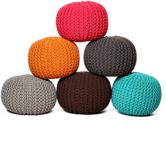 Fab Knitted Pouf Turquoise