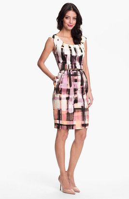 Maggy London Plaid Print Belted Sheath Dress