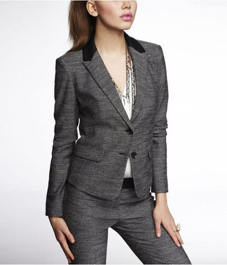 Express (Minus The) Leather Trim Tweed Tulip Back Jacket