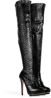 Le Silla Black Stretch Python Over-the-Knee Boots