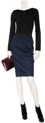 Donna Karan Dark Navy Wool-Blend Pencil Skirt