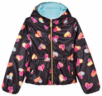 Moschino Kid-Teen Black All Over Heart Print Hooded Jacket