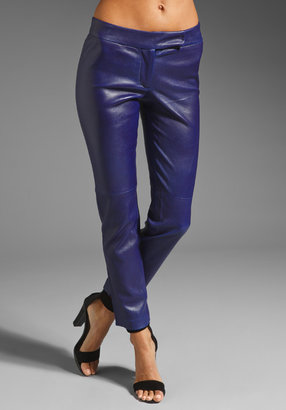 Milly Stretch Leather Slim Ankle Pant