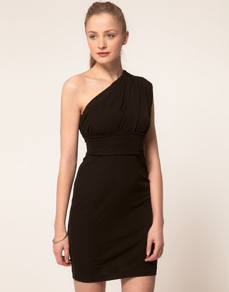 Halston One Shoulder Gathered Mini Dress