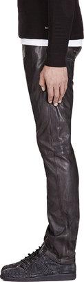 Diesel Black Wrinkle Leather L Thavar Trouser