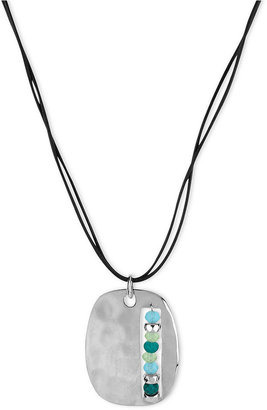 Kenneth Cole New York Necklace, Silver-Tone Faceted Bead Rectangle Pendant Necklace