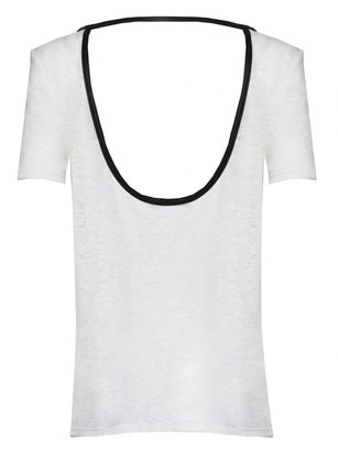 Alice + Olivia Sterling Cutout Back T-Shirt With Leather