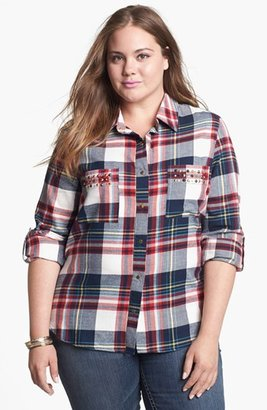 Pretty Rebel Studded Plaid Shirt (Juniors Plus)