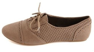 Charlotte Russe Perforated Lace-Up Oxford