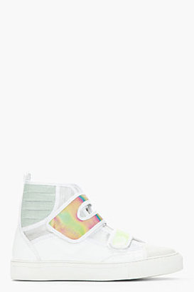 Raf Simons White & Green Holographic Velcro High Top Sneakers