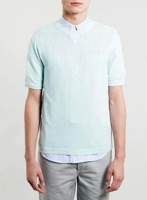 Topman Pastel Blue Knitted T-Shirt
