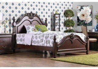 Furniture of America Diva Traditional Cherry Solid Wood Poster Bed